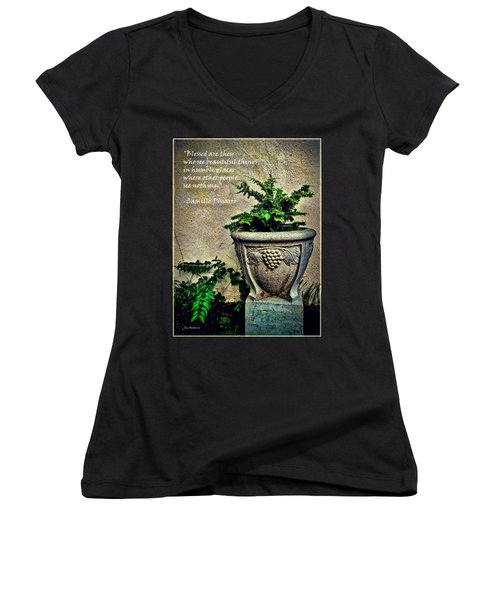 Pissarro Inspirational Quote Women's V-Neck T-Shirt