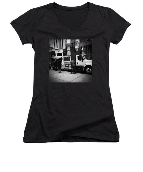 Pizza Oven Truck - Chicago - Monochrome Women's V-Neck T-Shirt (Junior Cut) by Frank J Casella