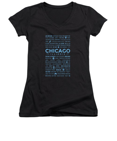 Women's V-Neck T-Shirt featuring the digital art Places Of Chicago Blue On Black by Christopher Arndt