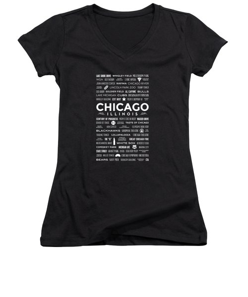 Women's V-Neck T-Shirt featuring the digital art Places Of Chicago On Black Chalkboard by Christopher Arndt