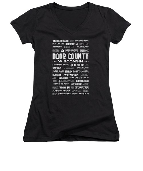 Women's V-Neck T-Shirt featuring the digital art Places Of Door County On Black by Christopher Arndt