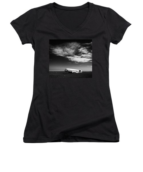 Women's V-Neck featuring the photograph Plane Wreck Black And White Iceland by Matthias Hauser