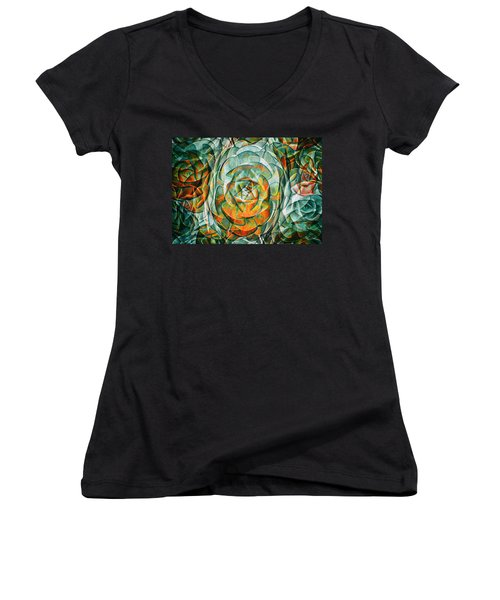 Plant Abstract Women's V-Neck T-Shirt (Junior Cut) by Wayne Sherriff