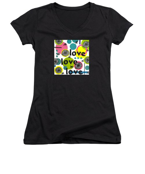 Women's V-Neck T-Shirt (Junior Cut) featuring the mixed media Playful Love by Gloria Rothrock