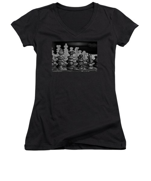 Playing Chess 2 Women's V-Neck T-Shirt (Junior Cut) by Cendrine Marrouat