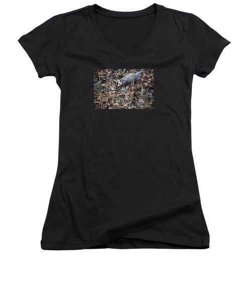 Playing Possum Women's V-Neck T-Shirt (Junior Cut) by Mark McReynolds
