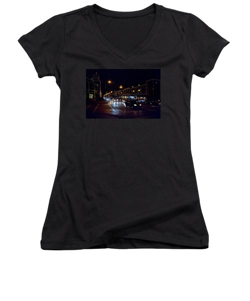 Women's V-Neck T-Shirt (Junior Cut) featuring the photograph Plaza Lights by Jim Mathis