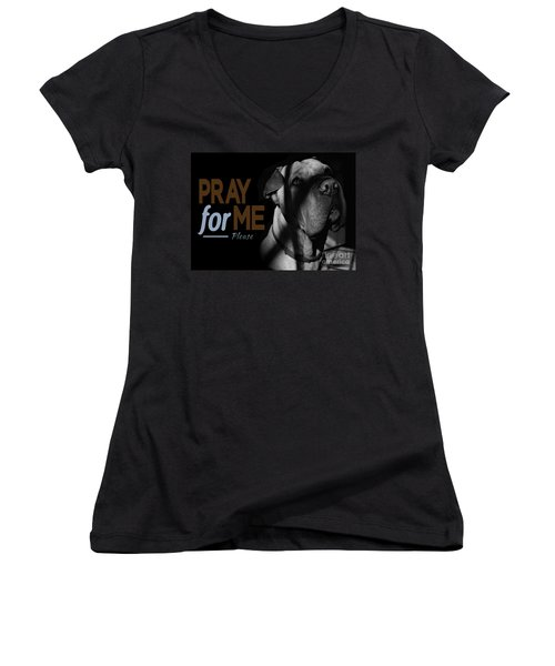 Please Pray For Me Women's V-Neck (Athletic Fit)