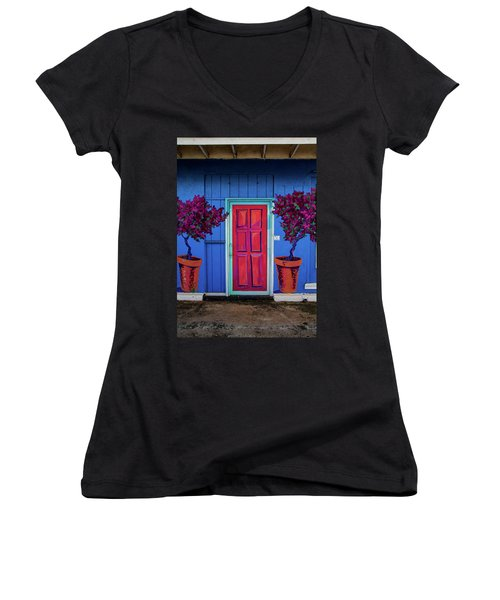 Women's V-Neck T-Shirt (Junior Cut) featuring the photograph Please Use Other Door by Roger Mullenhour