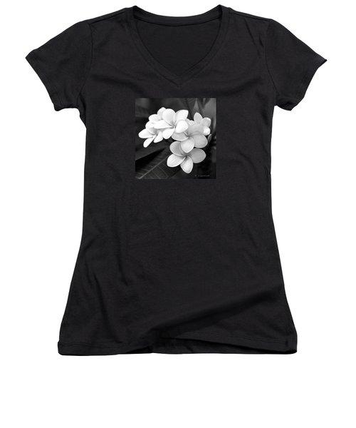 Women's V-Neck T-Shirt (Junior Cut) featuring the photograph Plumeria - Black And White by Kerri Ligatich