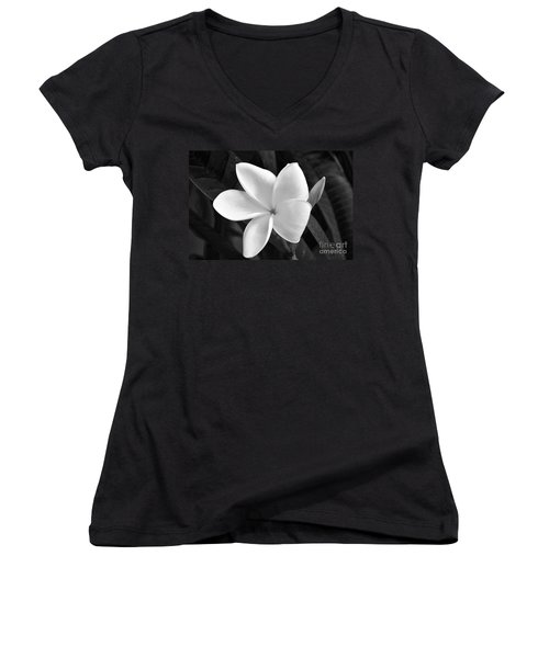 Plumeria In Monochrome Women's V-Neck (Athletic Fit)