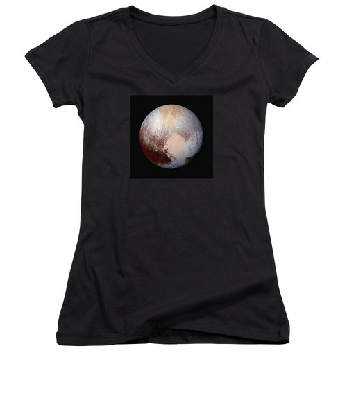 Pluto Dazzles In False Color - Square Crop Women's V-Neck T-Shirt (Junior Cut) by Nasa