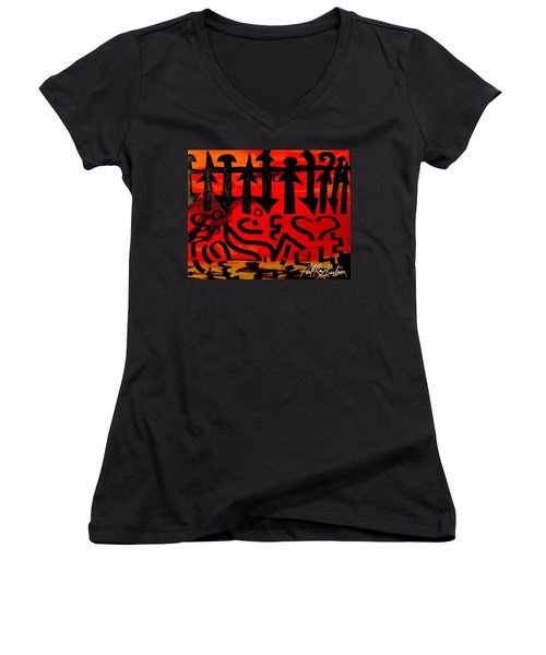 Pmurt Abstract  Women's V-Neck (Athletic Fit)
