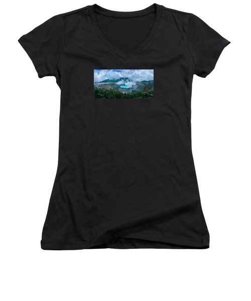 Poas Volcano, Costa Rica Women's V-Neck T-Shirt (Junior Cut)