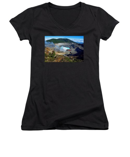Poas Volcano Women's V-Neck T-Shirt