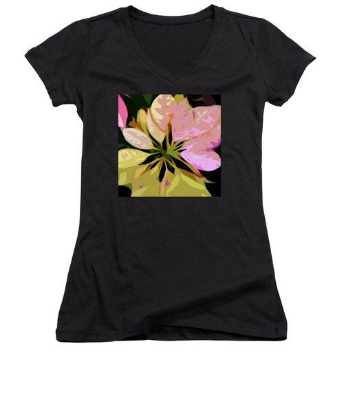 Poinsettia Tile Women's V-Neck (Athletic Fit)