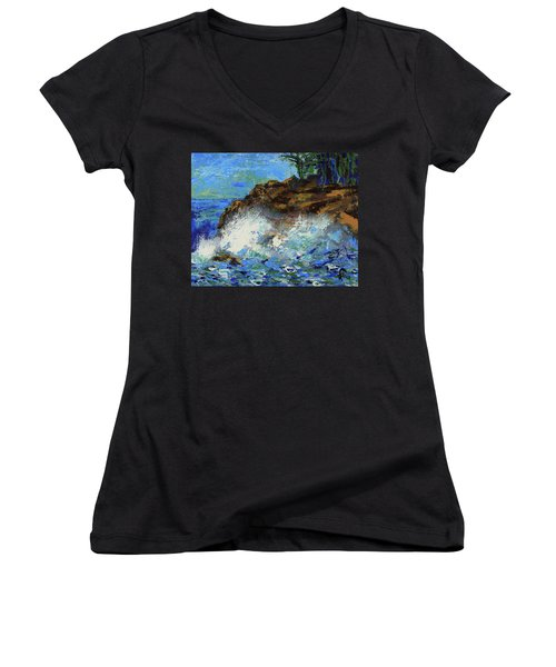 Women's V-Neck T-Shirt featuring the painting Point Lobos Crashing Waves by Walter Fahmy