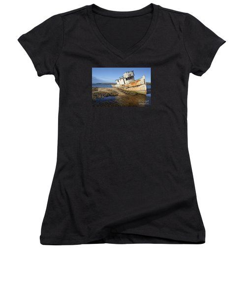 Point Reyes Shipwreck Women's V-Neck T-Shirt (Junior Cut) by Amy Fearn
