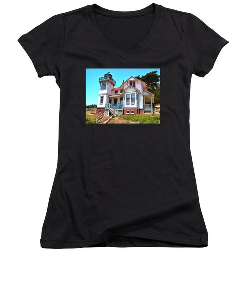 Women's V-Neck T-Shirt (Junior Cut) featuring the photograph Point San Luis Lighthouse by Floyd Snyder