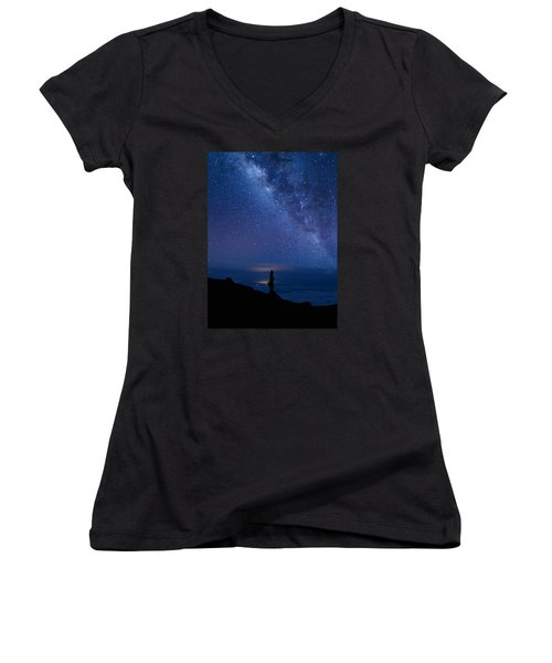 Pointing To The Heavens Women's V-Neck
