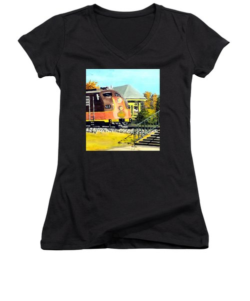 Women's V-Neck T-Shirt (Junior Cut) featuring the painting Polar Express by Jim Phillips