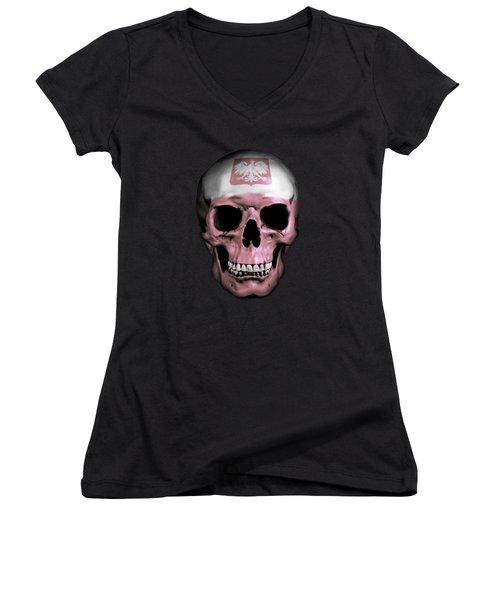Women's V-Neck T-Shirt (Junior Cut) featuring the digital art Polish Skull by Nicklas Gustafsson