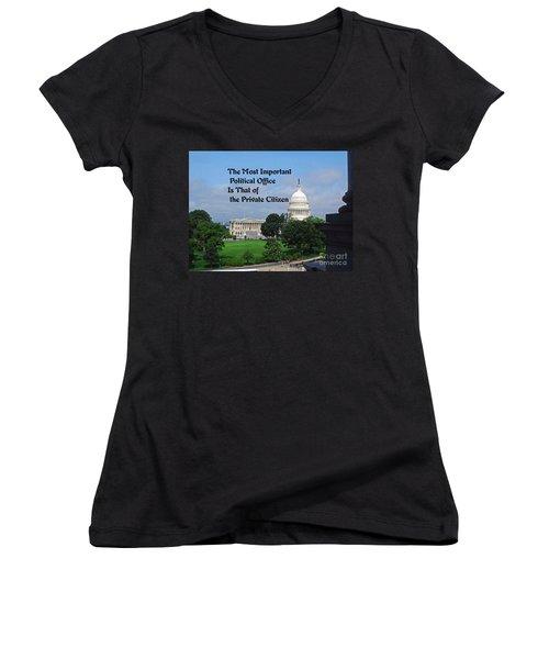 Political Statement Women's V-Neck T-Shirt (Junior Cut) by Gary Wonning