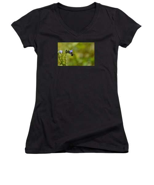 Women's V-Neck T-Shirt (Junior Cut) featuring the photograph Pollinating  Bee  by Lyle Crump