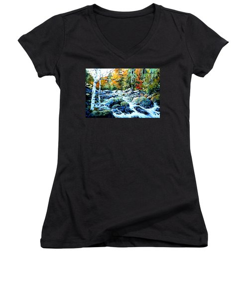 Women's V-Neck T-Shirt featuring the painting Polliwog Clearing by Hanne Lore Koehler