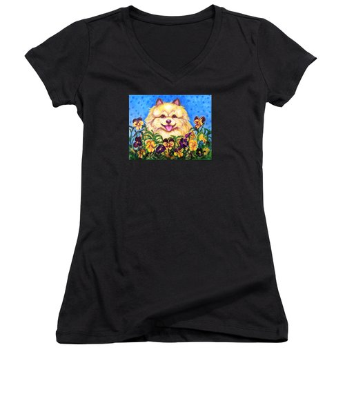 Women's V-Neck T-Shirt (Junior Cut) featuring the painting Pomeranian With Pansies by Laura Aceto