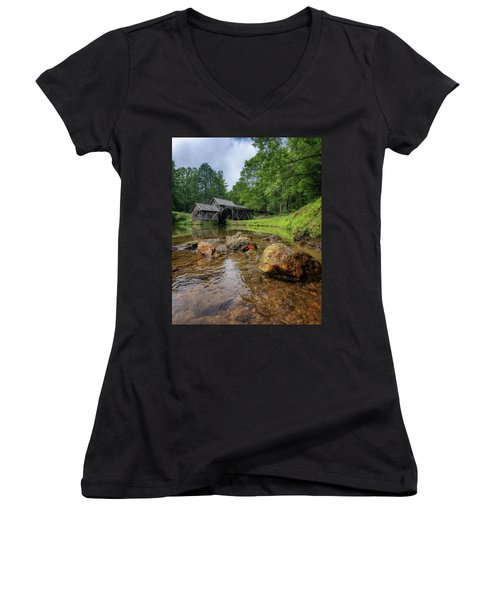 Pond At Mabry Mill Women's V-Neck (Athletic Fit)