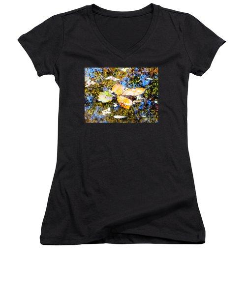 Pondering Women's V-Neck T-Shirt (Junior Cut) by Melissa Stoudt