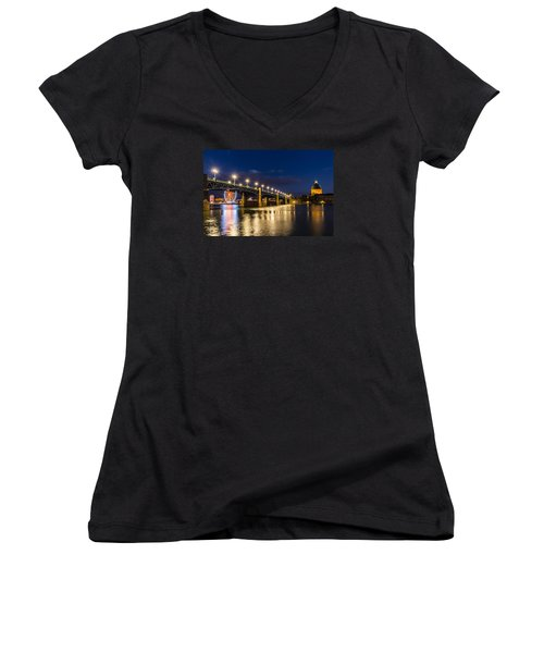 Women's V-Neck T-Shirt (Junior Cut) featuring the photograph Pont Saint-pierre With Street Lanterns At Night by Semmick Photo