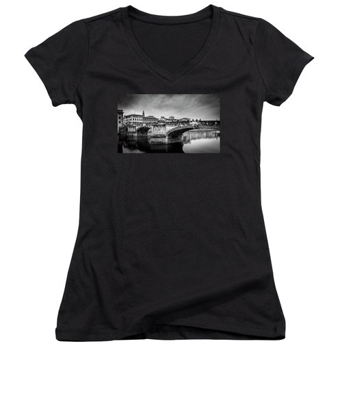 Ponte Santa Trinita Women's V-Neck T-Shirt (Junior Cut) by Sonny Marcyan