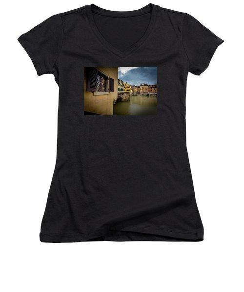 Women's V-Neck T-Shirt (Junior Cut) featuring the photograph Ponte Vecchio by Sonny Marcyan