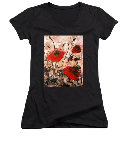 Pop Goes The Poppies Women's V-Neck (Athletic Fit)
