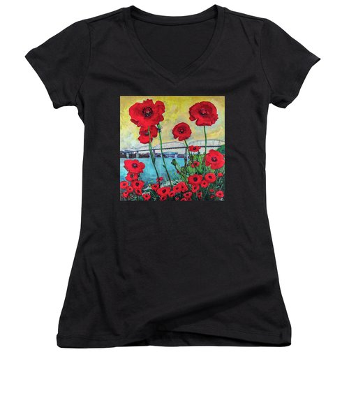 Poppies Along The Riverfront Women's V-Neck
