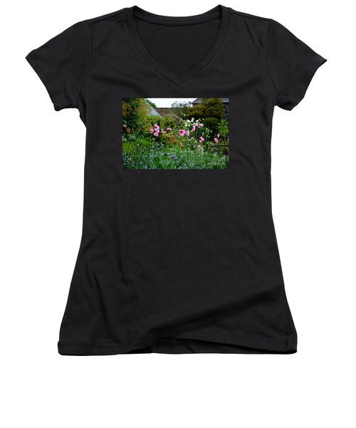 Women's V-Neck T-Shirt (Junior Cut) featuring the photograph Poppies Of The Great Dixter by Tanya Searcy