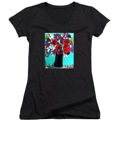 Poppies Red Women's V-Neck