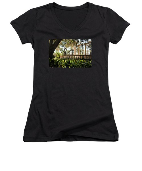 Popp's Fountain Women's V-Neck T-Shirt (Junior Cut) by Kathleen K Parker