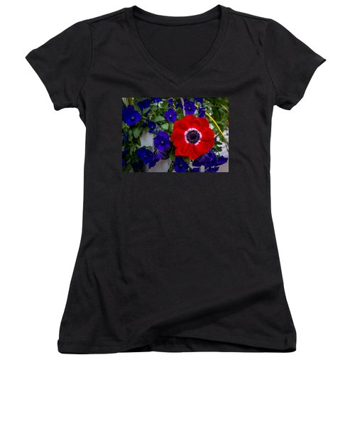 Poppy And Pansies Women's V-Neck (Athletic Fit)