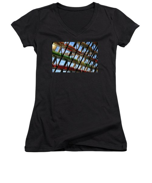 Pop's Bottles Women's V-Neck T-Shirt (Junior Cut) by Lana Trussell