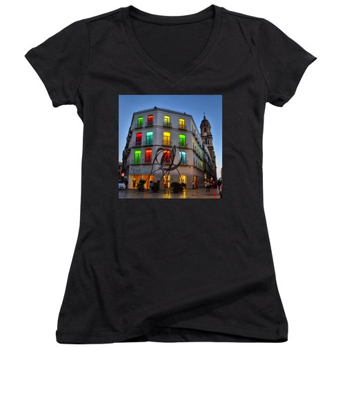 Por Las Calles Del Centro Historico De Women's V-Neck (Athletic Fit)