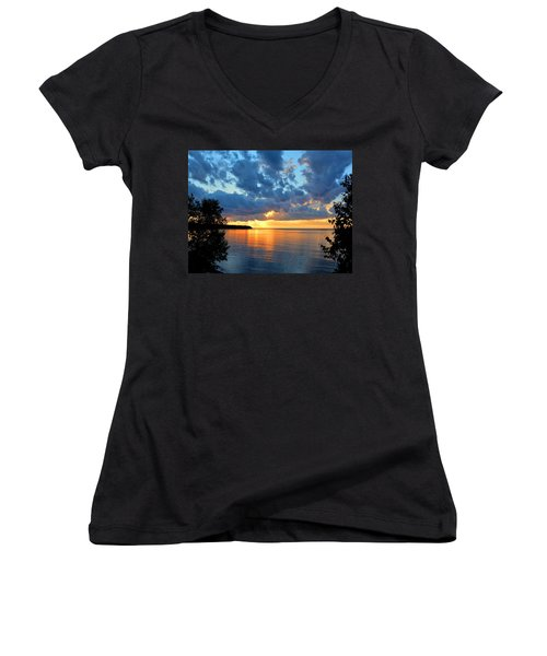 Porcupine Mountains Sunset Women's V-Neck T-Shirt (Junior Cut) by Keith Stokes