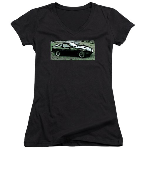 Porsche 944 On A Hot Afternoon Women's V-Neck T-Shirt