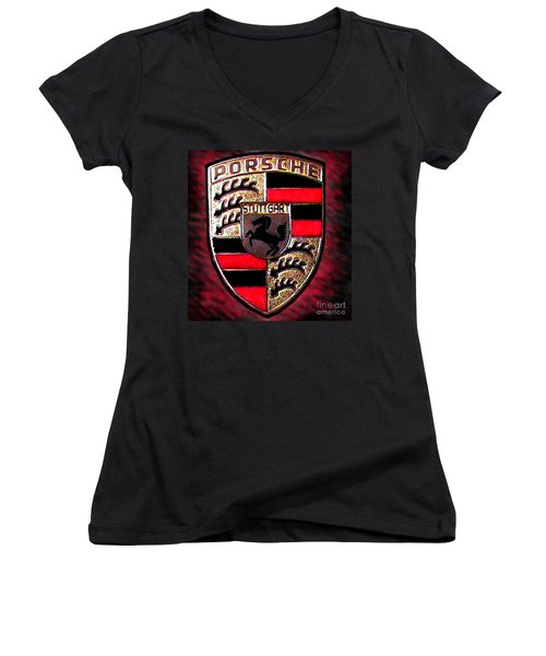 Porsche Emblem Women's V-Neck T-Shirt