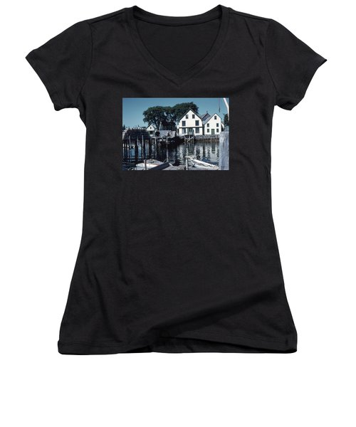 Port Clyde Maine Women's V-Neck (Athletic Fit)