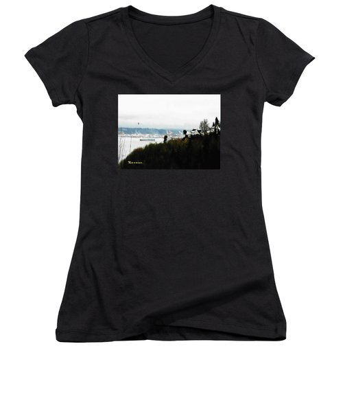 Women's V-Neck T-Shirt (Junior Cut) featuring the photograph Port Of Tacoma At Ruston Wa by Sadie Reneau