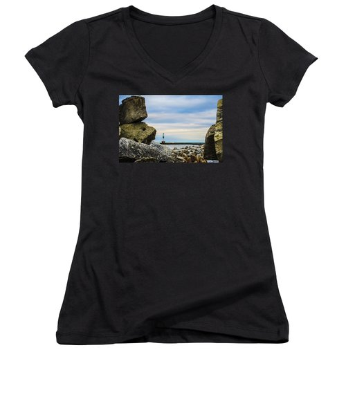 Women's V-Neck T-Shirt (Junior Cut) featuring the photograph Port Washington Light 4 by Deborah Smolinske
