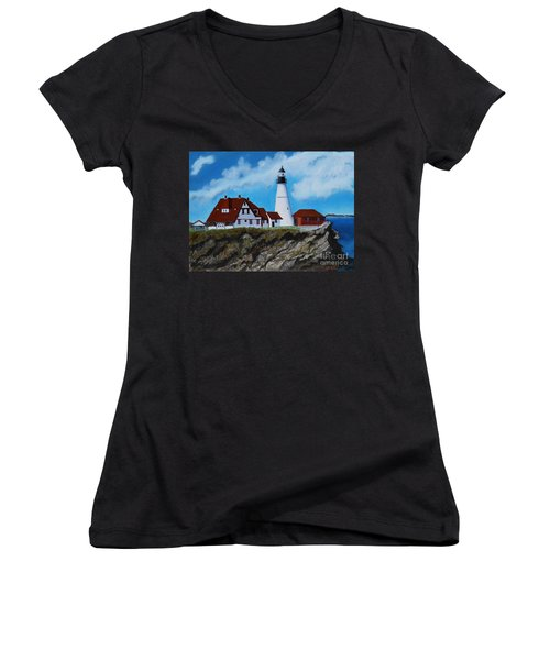 Portland Head Light In Maine Viewed From The South Women's V-Neck T-Shirt